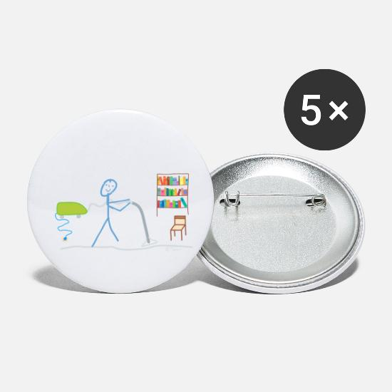 Washing Machine Buttons - Stick Figure Vaccum cleaner Household clean tidy - Small Buttons white