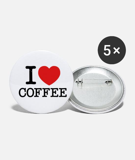 Heart Buttons & Pins - I Love Coffee - Small Buttons white
