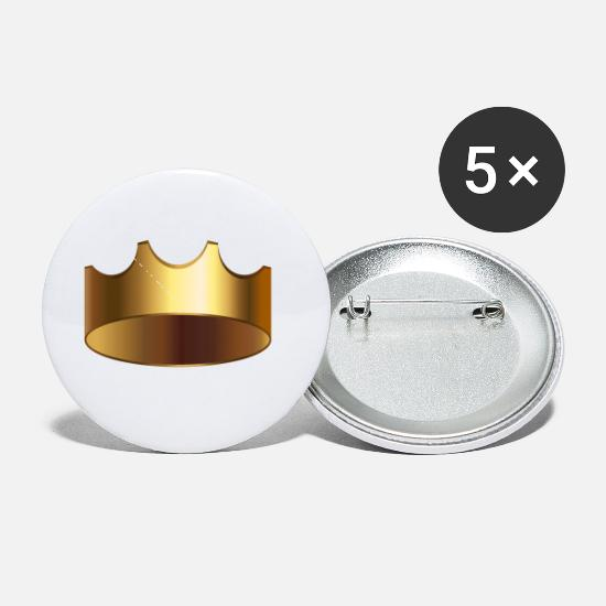 Jewel Buttons - VIP Royal golden crown King monarch vector image - Small Buttons white