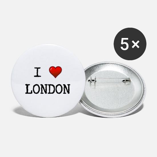 Love Buttons - I love London - Great Britain - GB - England - Small Buttons white