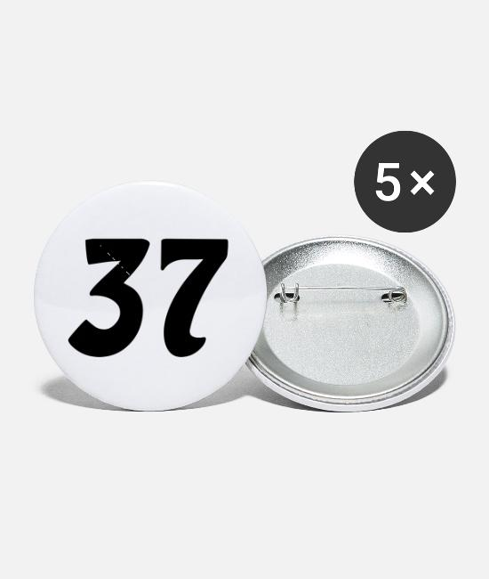 Numbered Buttons & Pins - 37 number - Small Buttons white