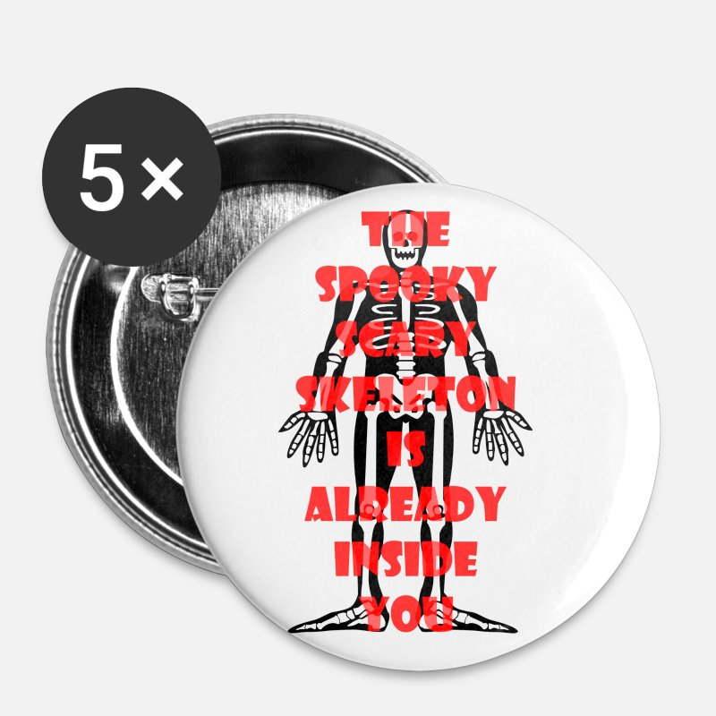 Meme Buttons - Spooky Scary Skeleton - Small Buttons white