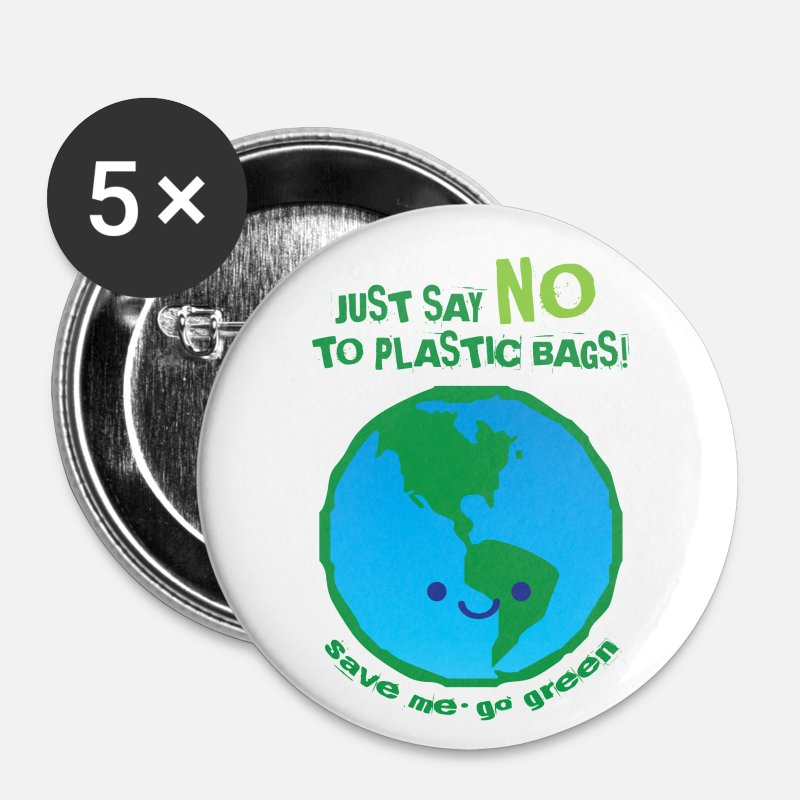Earth Day Buttons - Just Say NO To Plastic Bags - Small Buttons white