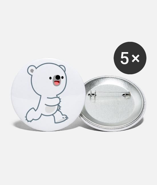 Cub Buttons & Pins - Cute Perky Polar Bear Cub by Cheerful Madness!! - Small Buttons white