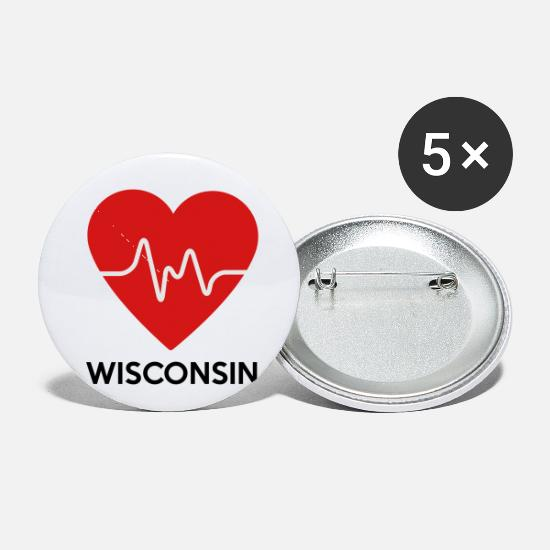 Home Buttons - Heart Wisconsin - Small Buttons white