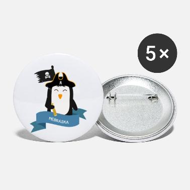 Nautical Penguin Pirate Captain from NEBRASKA Gift - Small Buttons