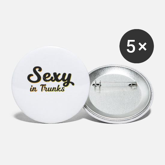 Birthday Buttons - Sexy in Trunks - Gift - Shirt - Small Buttons white