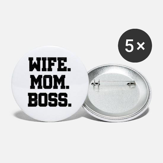Wife Buttons - Wife Mom Boss, Wife, Gift, - Small Buttons white