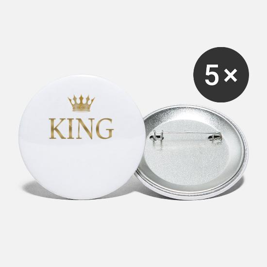 Gold Buttons - Birthday King Golden Crown - Small Buttons white