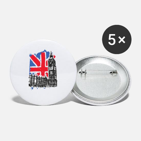 London Buttons - London Big Ben National Flag Westminster Palace - Small Buttons white