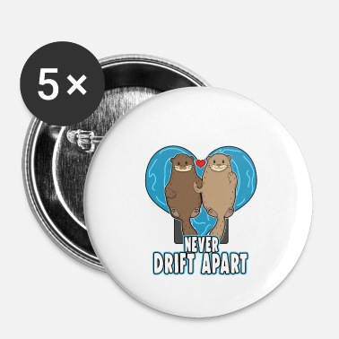 Couples Sea Otters In Love - Small Buttons