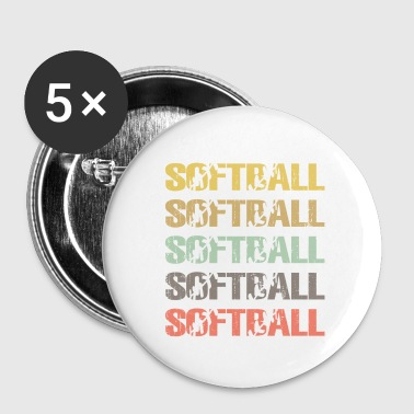 Vintage softball , softball Gift Men - Small Buttons