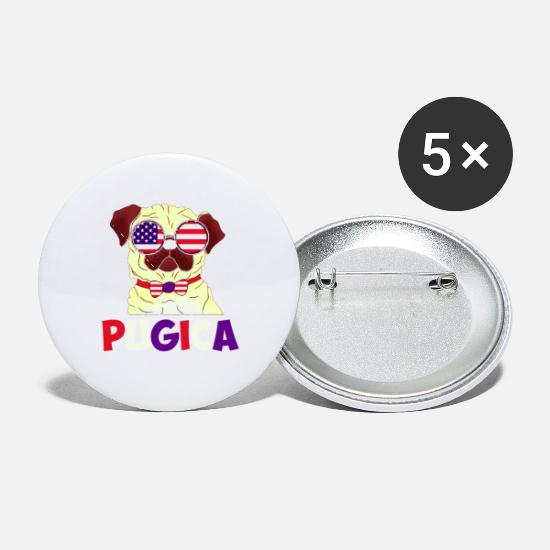 Pug Buttons - Independence Day Pug Funny pug dog who seems to be - Small Buttons white
