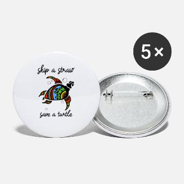 Best Skip a Straw Save A Turtle Stop Ocean Pollution - Small Buttons