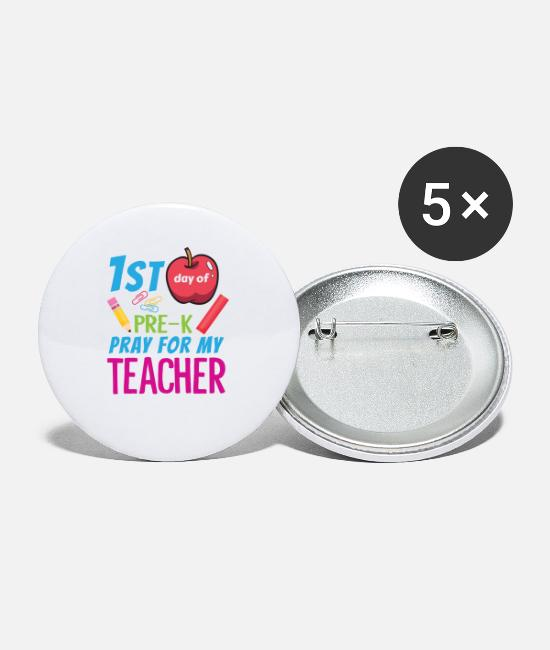 Crayons Buttons & Pins - First Day of School Pre K Pray for My Teacher Funny Back to School Shirt - Small Buttons white