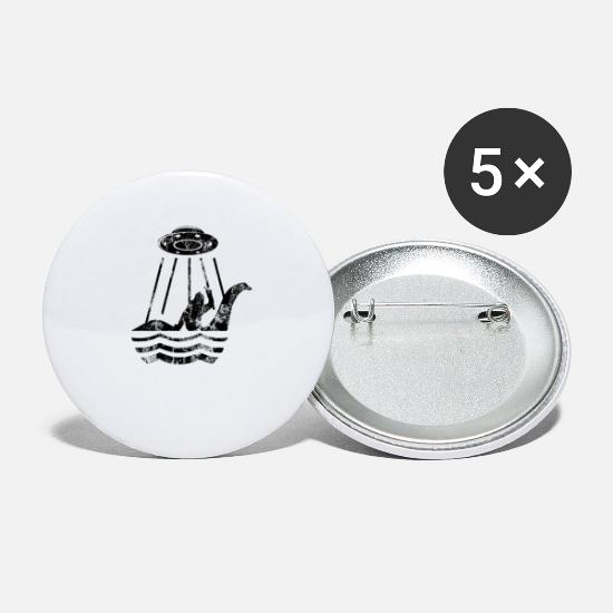 Lochness Buttons - UFO Bigfoot Riding on Nessie Lochness Monster - Small Buttons white