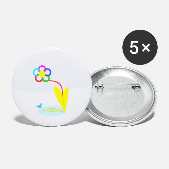 Pigeon Buttons - Flower and dove - Small Buttons white