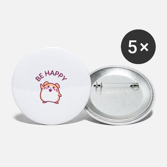 Gift Idea Buttons - Be Happy - Small Buttons white