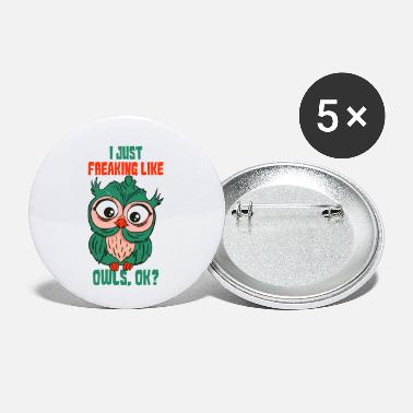 Present Owl & Owls Present & Gift - Small Buttons