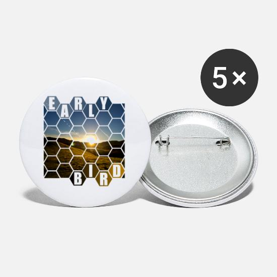 Early Risers Buttons - early bird - Small Buttons white