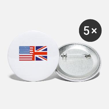 Nottingham Flag Half Uk Half USA Flags - Small Buttons