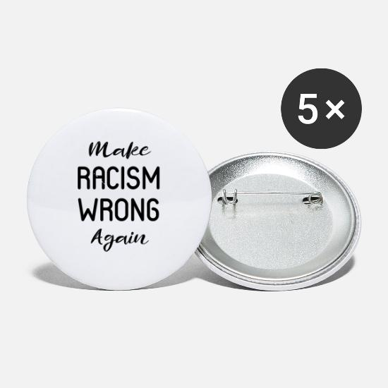 Black Lives Matter Buttons - MAKE RACISM WRONG AGAIN BLACK - Small Buttons white
