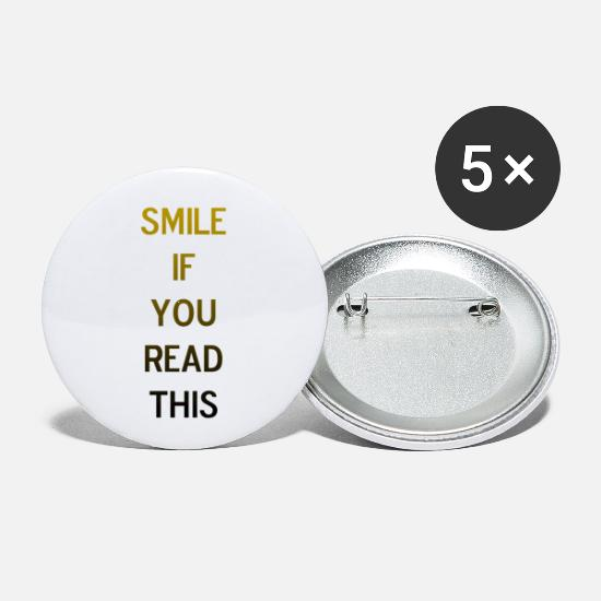 "Gold Buttons - ""Smile If You Read This"" Flirt Shirt gold black - Small Buttons white"