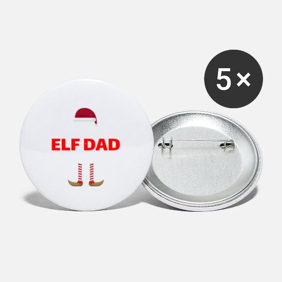 Wisconsin Buttons - Wisconsin Elf Dad Christmas In Badger State - Small Buttons white