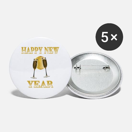 Merry Xmas Buttons - Happy New Year - Small Buttons white