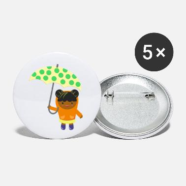 Rainy Day girl with umbrella - Small Buttons