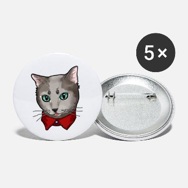 Russian Russian Blue Cat Face Cats Cute funny gift present - Small Buttons
