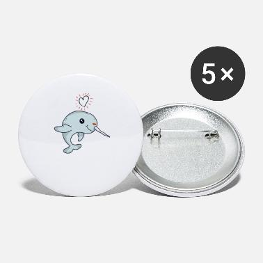 Cute Narwhal TShirt Love heart for women and girls - Small Buttons