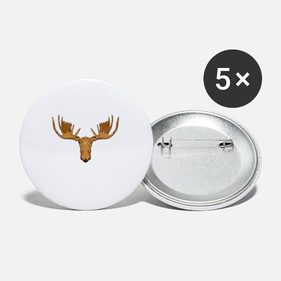 Alaska Is Calling And Must Go Moos Head Snowflakes Buttons small 1''  (5-pack) - white