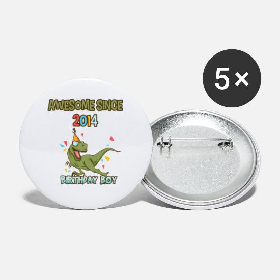 Birthday Buttons - T-Rex Birthday Boy Awesome since 2014 - 5th b-day - Small Buttons white