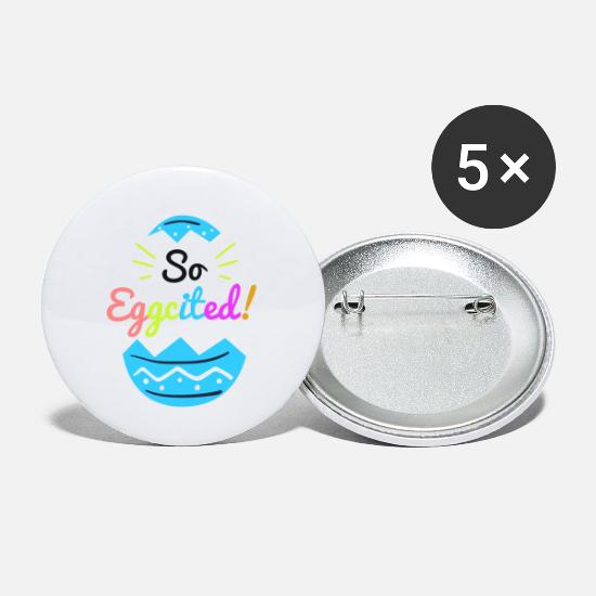 Holiday Buttons - So Eggcited - Easter Pun - Small Buttons white