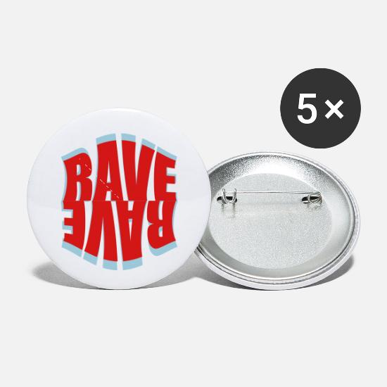 Raven Buttons - rave logo - Small Buttons white