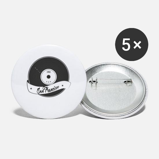 San Buttons - San Francisco Vinyl Tshirt with Vinyl record - Small Buttons white