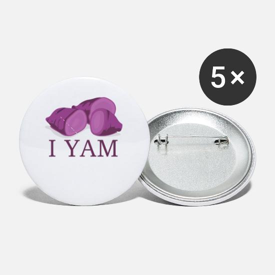 Boyfriend Buttons - I Yam matching set halloween costume for couples - Small Buttons white
