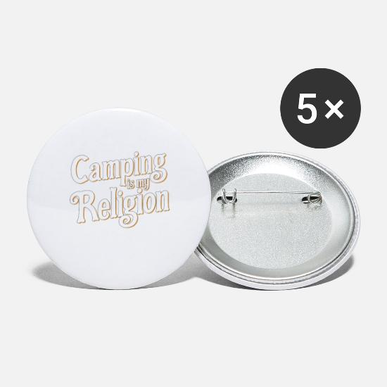 Religious Buttons - Camping is my religion Prayer Religious Gift - Small Buttons white
