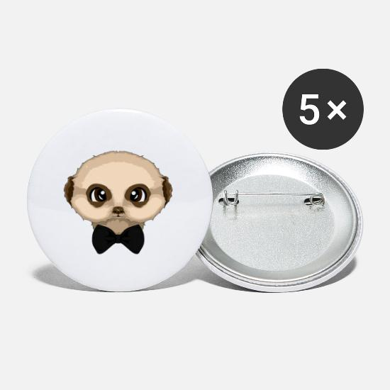 Gift Idea Buttons - cute meerkat with bow tie loop shirt animal love - Small Buttons white