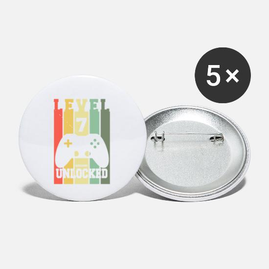 Performance Buttons - Level 7 Achievement Unlocked 7th B-day Geek Design - Small Buttons white