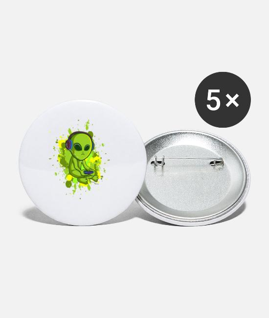 Video Game Buttons & Pins - Video Gaming Alien for a Video Games Enthusiast - Small Buttons white