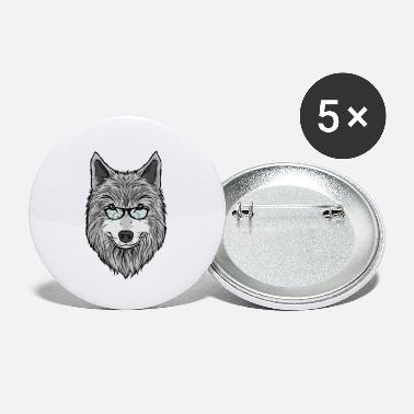Smart wolf with glasses - Small Buttons
