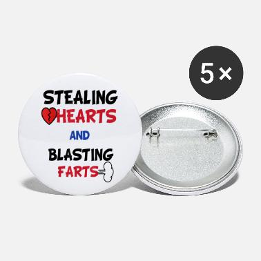 Funny Valentines Day Stealing Hearts And Blasting - Small Buttons