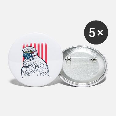 Head Bald Eagle Wearing Face Mask USA Flag Cool America - Small Buttons