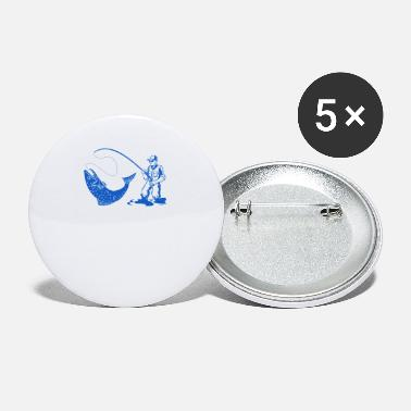 Fishing Rod Angler with fishing rod and fish - Small Buttons
