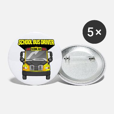 Yellow School Bus Driver Driving Yellow Bus - Small Buttons