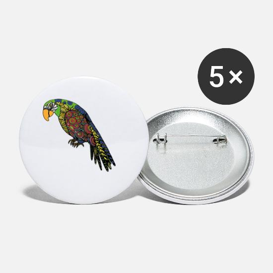 Parrot Buttons - Artistic Parrot - Small Buttons white