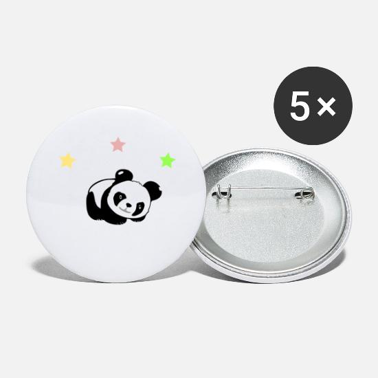 "Panda Buttons - Cute panda bear with lettering ""I like pandas"" - Small Buttons white"