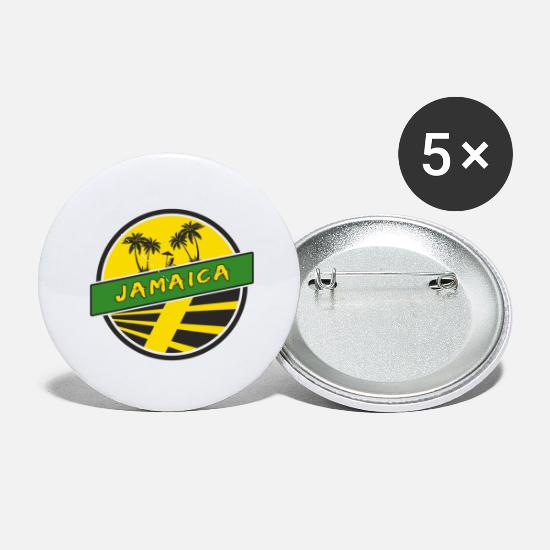 Patriot Buttons - Jamaica Design with Palms / Gift - Small Buttons white